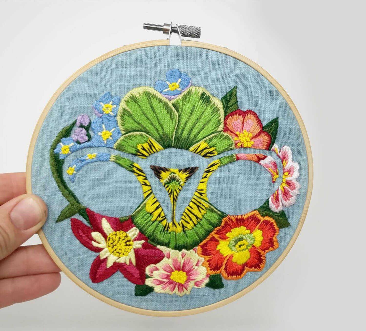 Ovaries embroidery with flower