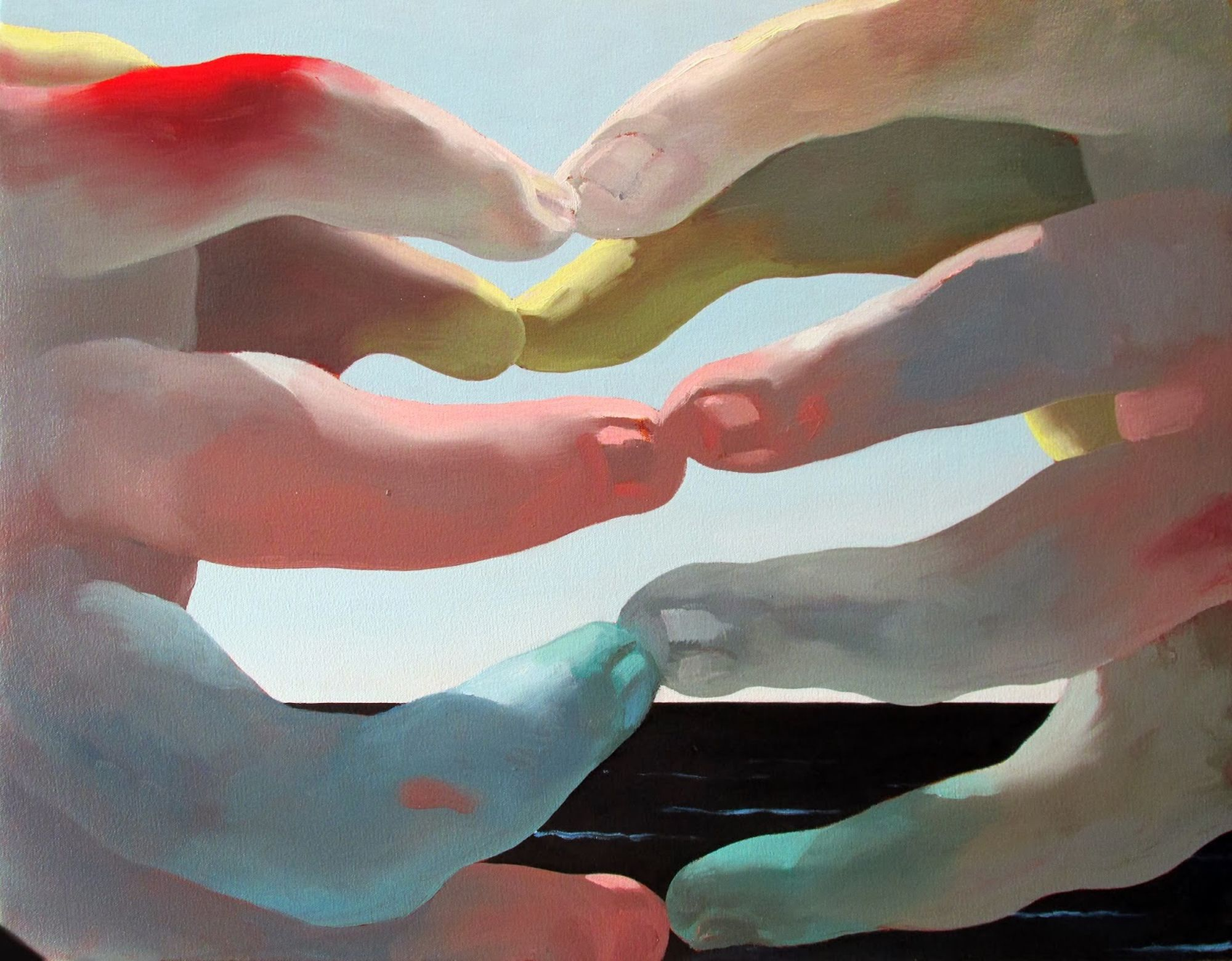 surreal painting, hands