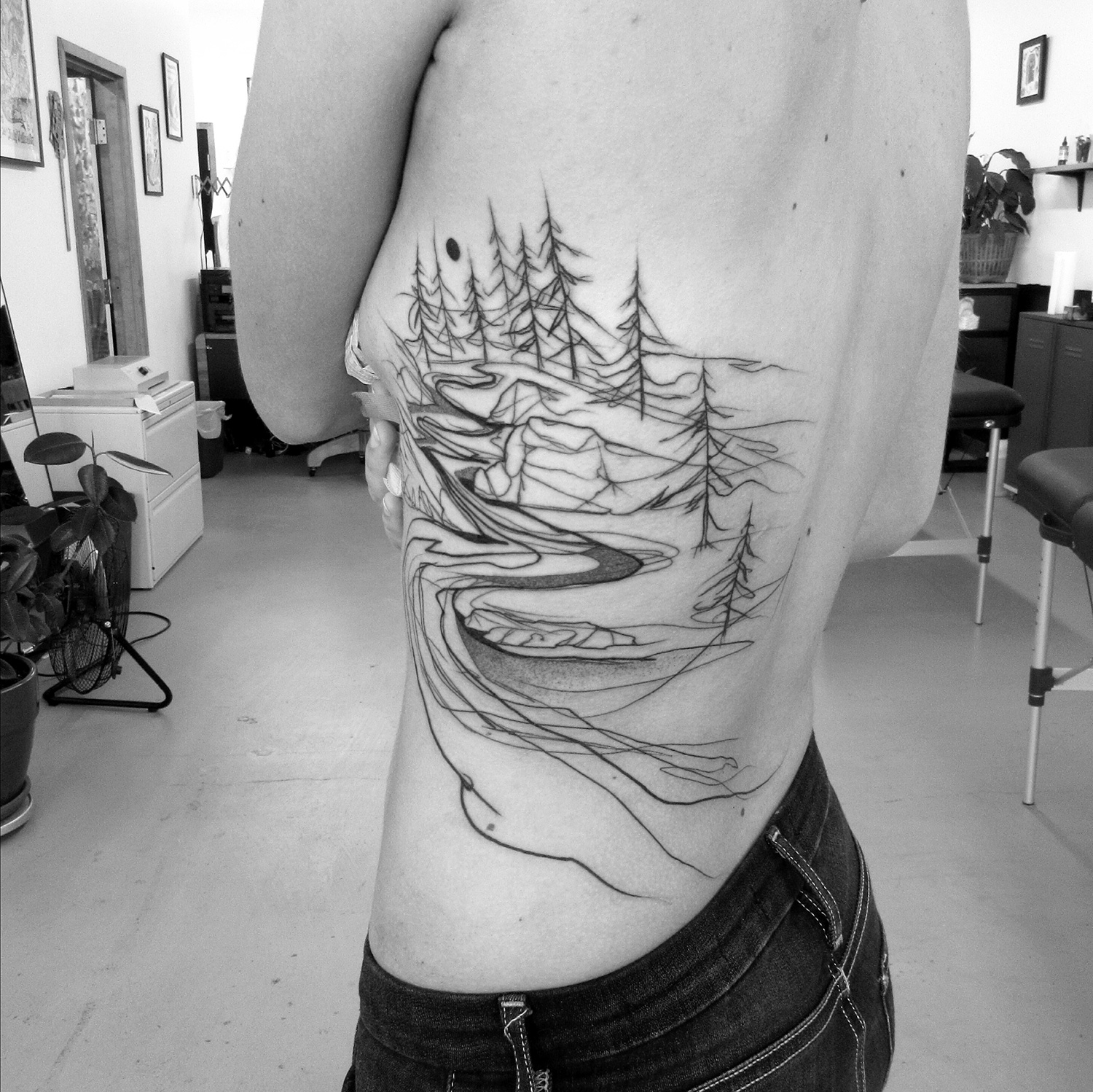 natural landscape tattoo, blackwork