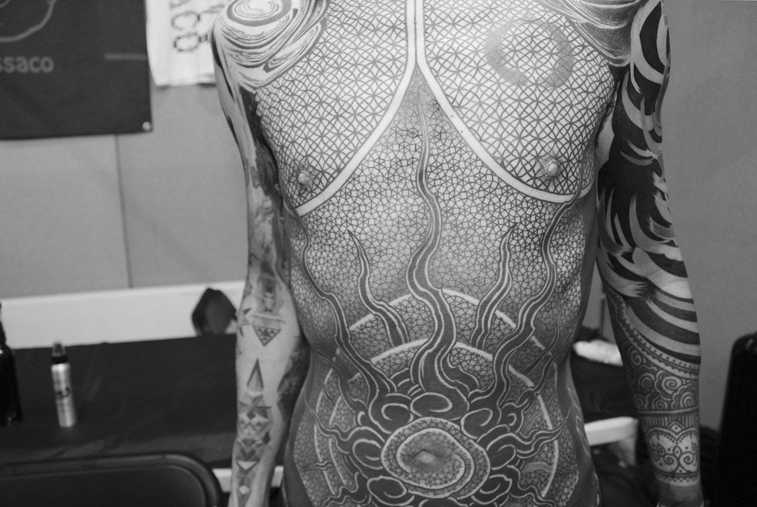gakkin tarroo of stomach, blackwork, asian