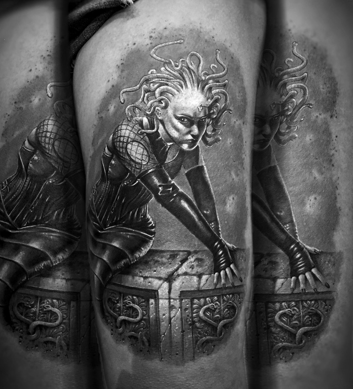 Surreal tattooed figure