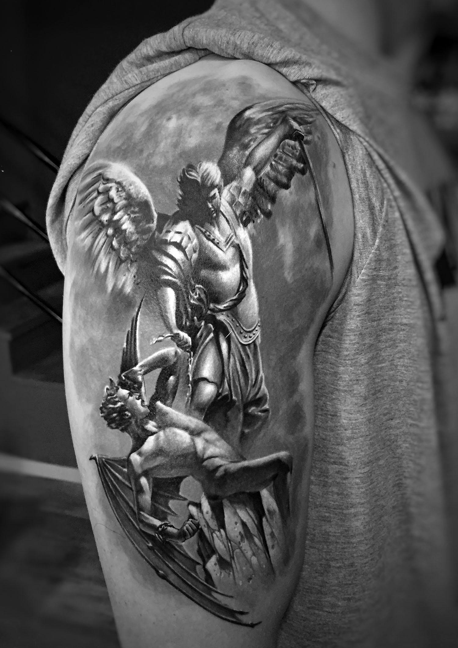 Hyperrealistic tattoo of an angel