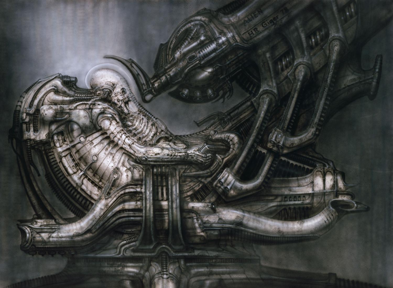 hr giger art, inspired the movie alien