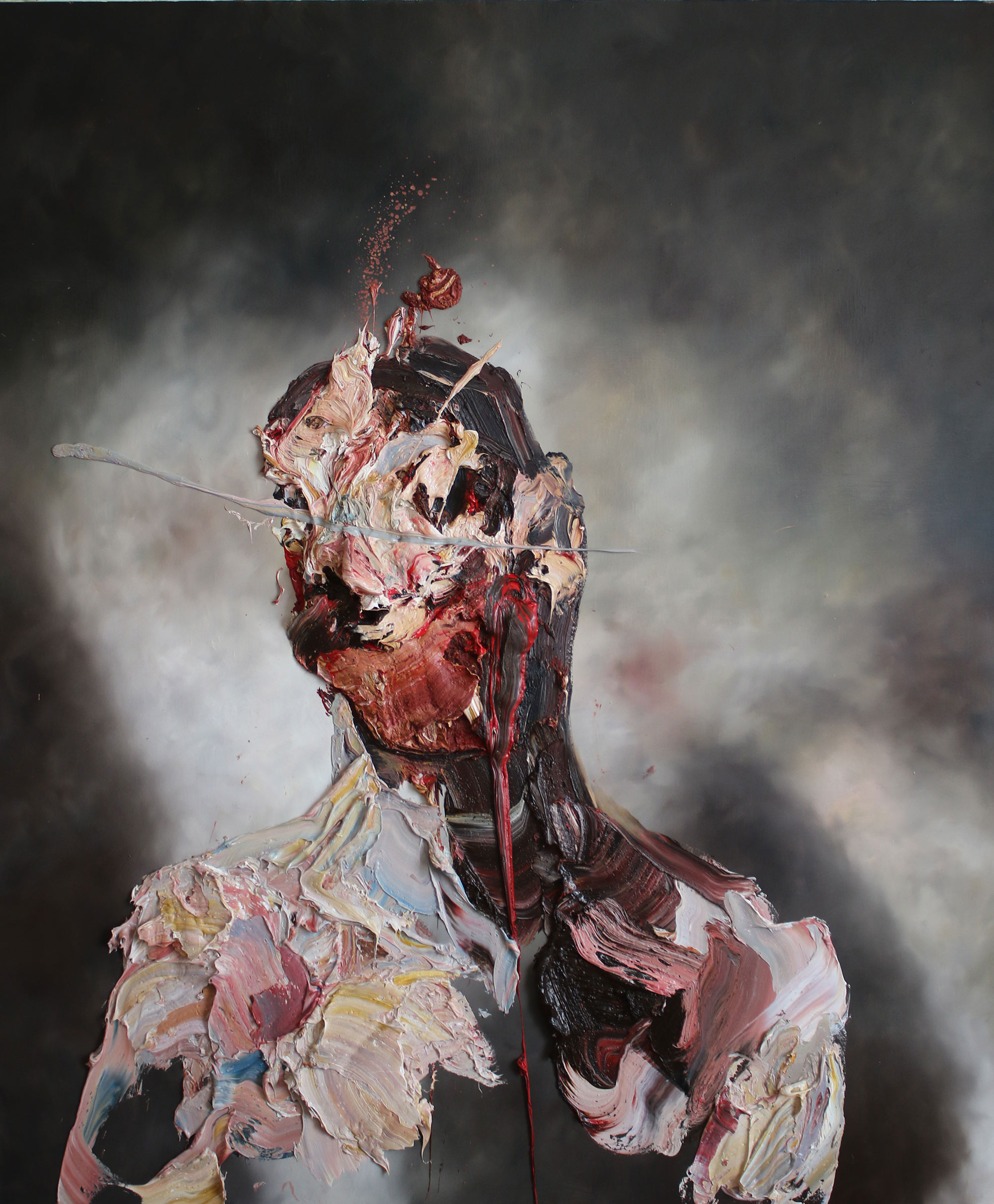 Antony Micallef - self-portrait with blue slash