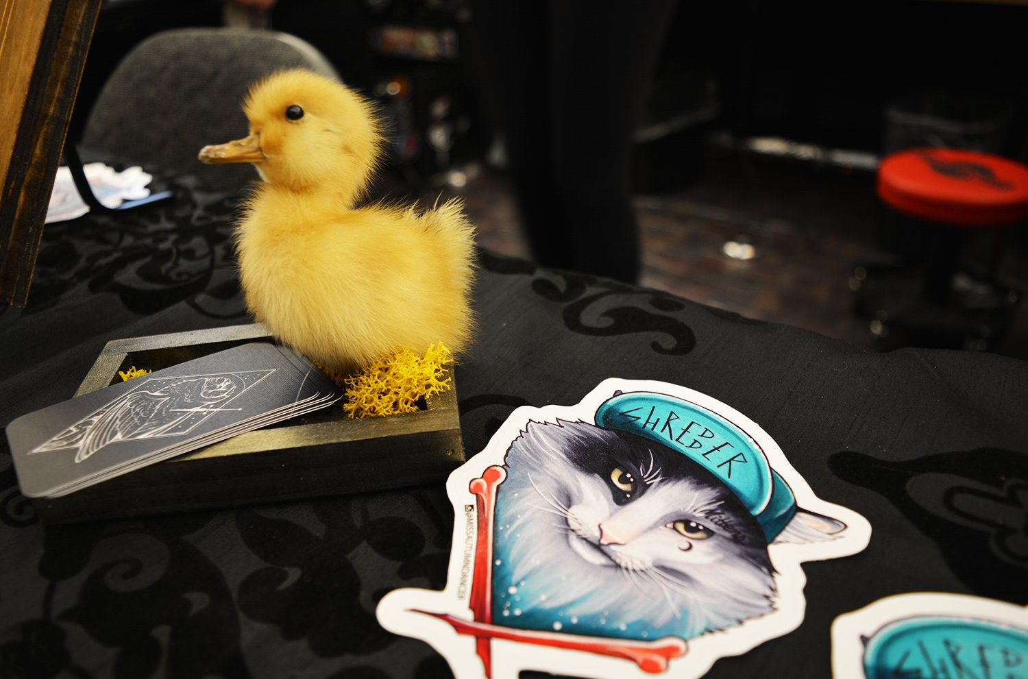 duck and stickers, tattoo booth