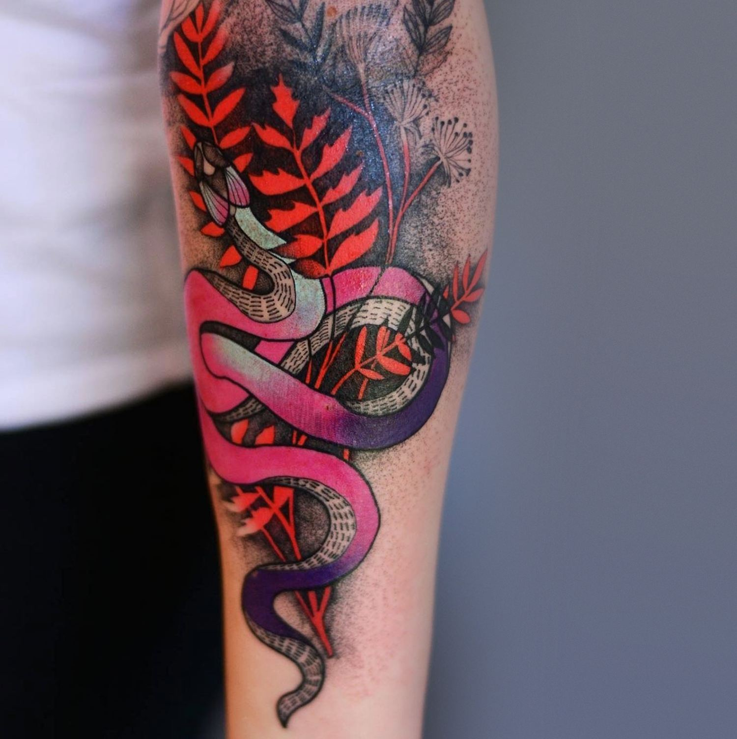 snake, red and plants, tattoo