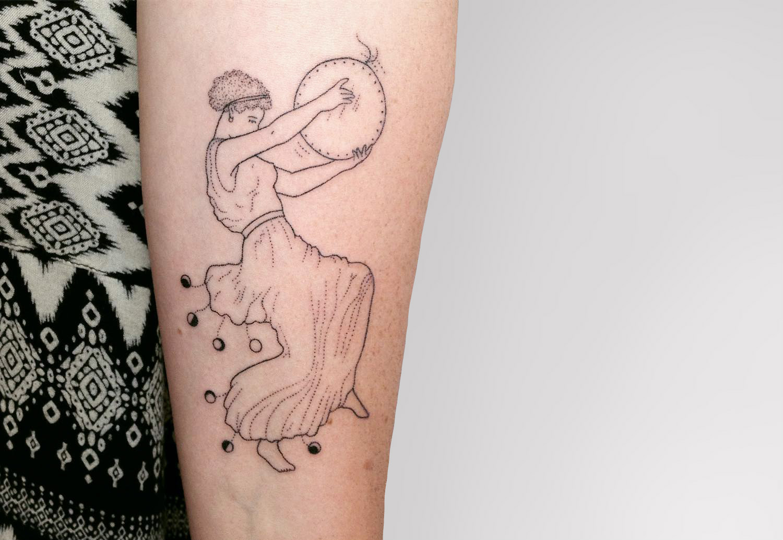 Water goddess handpoke tattoo by Tati Compton