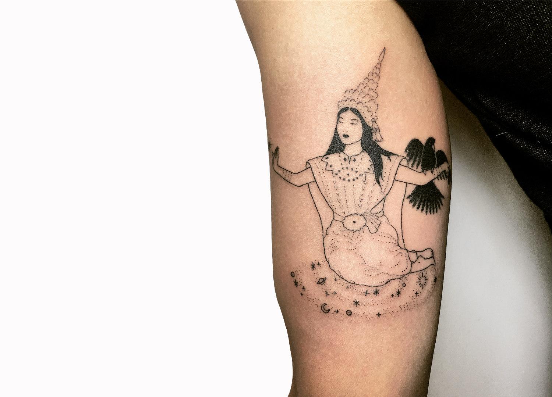 Southeast Asian handpoke tattoo by Tati Compton
