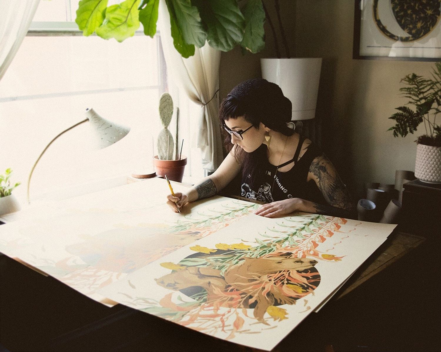 artist tegan white in studio