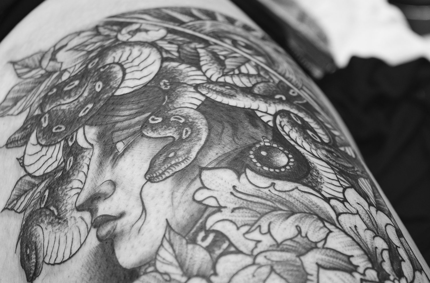medusa tattoo on thigh