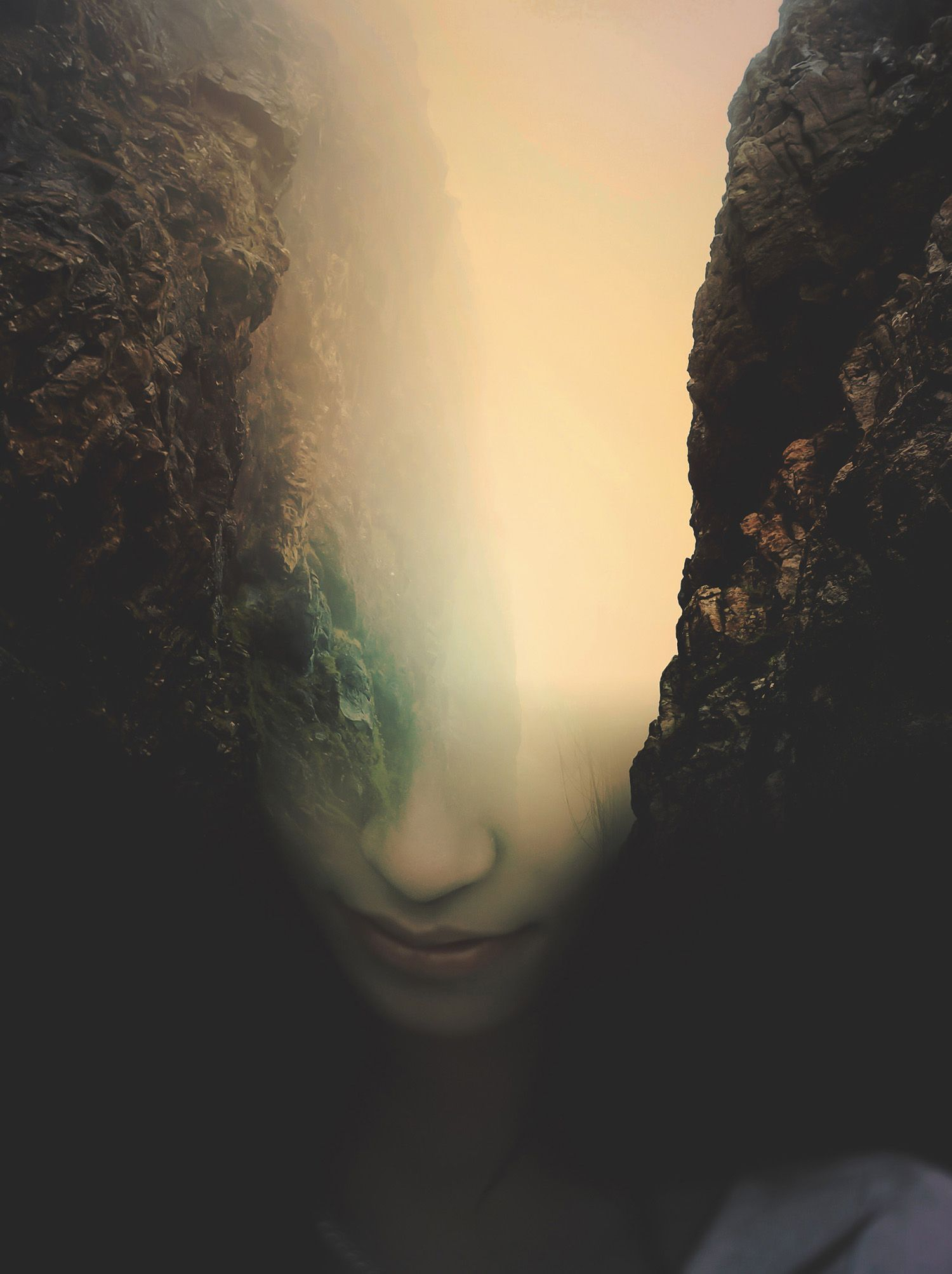Chasm, digital art, collage, portrait, by Cash Mattock