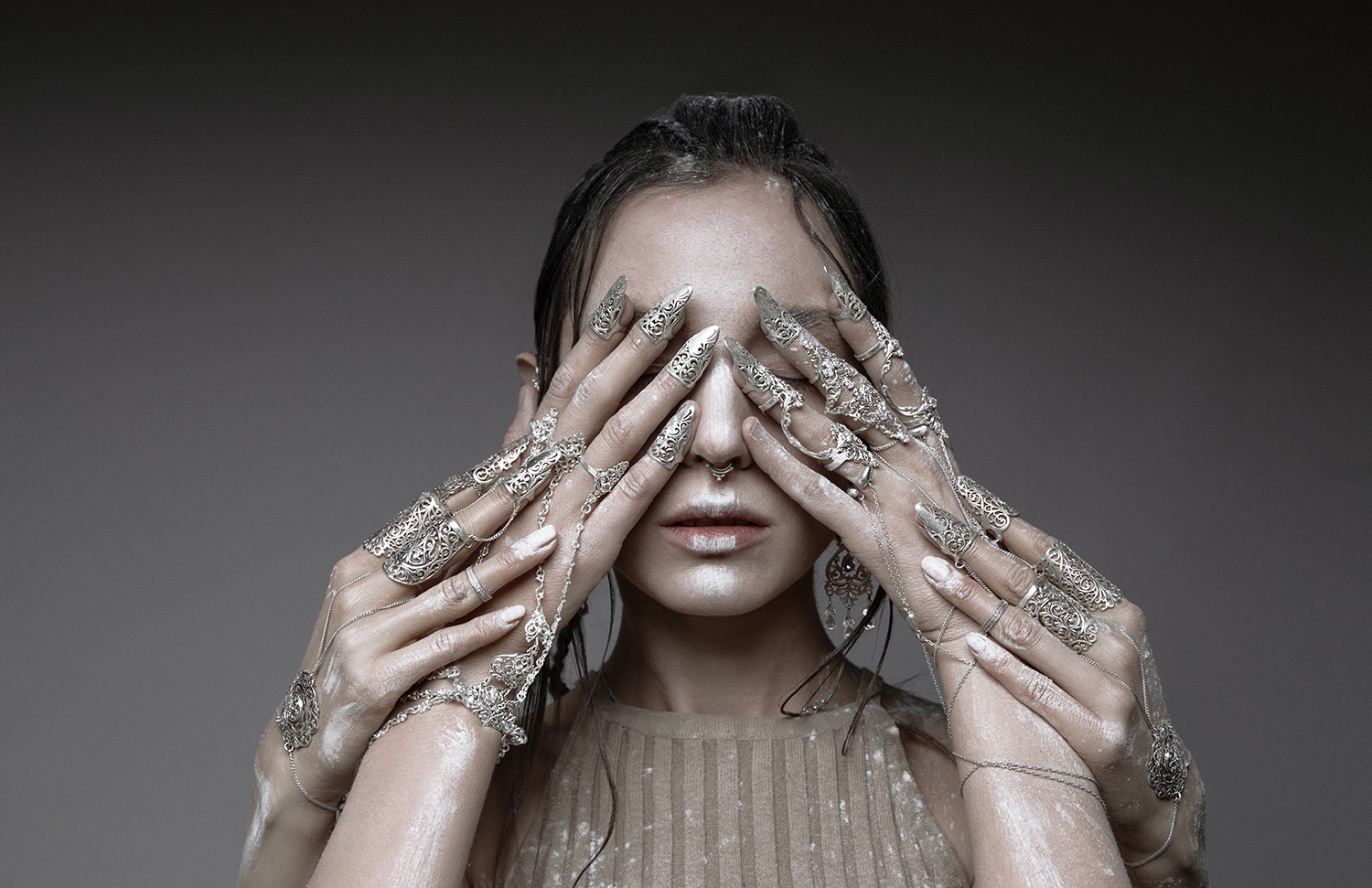 Ilona D. Veresk - Still There - face covered hands