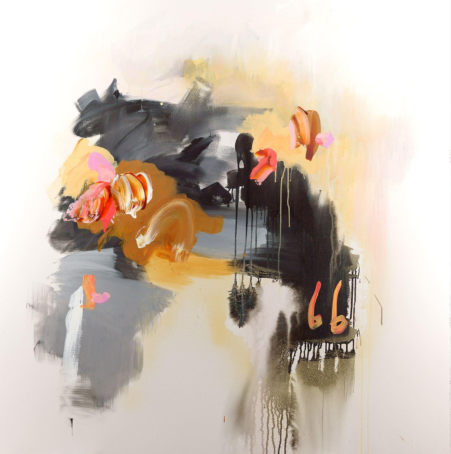cookie monster, orange and black painting