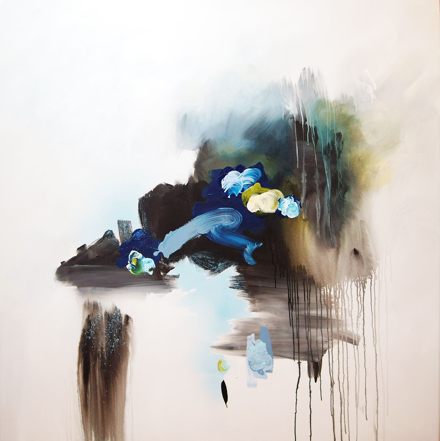 blueberry and lime sorbert, blue and black abstract painting, fine art