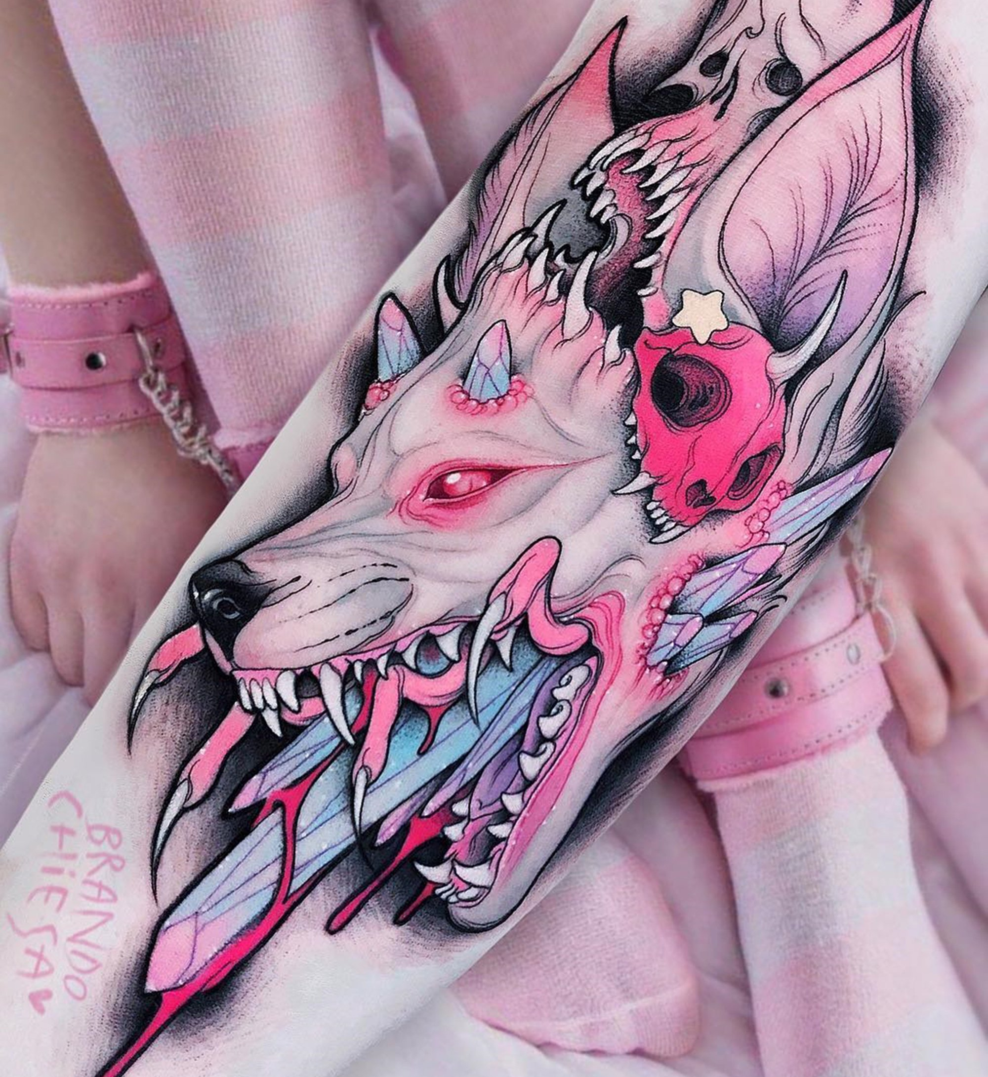 wolf tattoo, pink, pastel colors