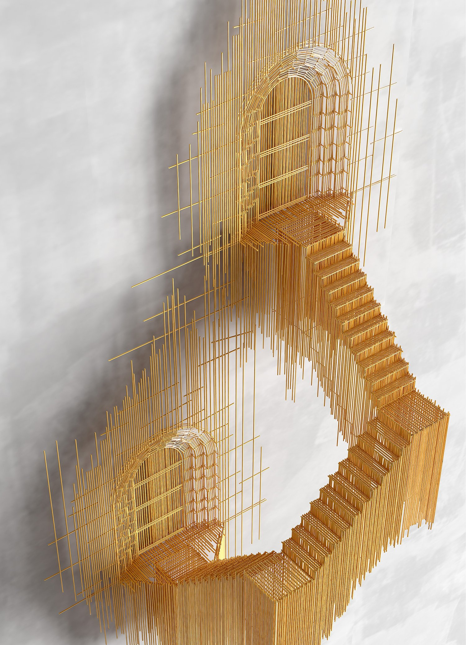 closeup David Moreno - stairs, sculpture