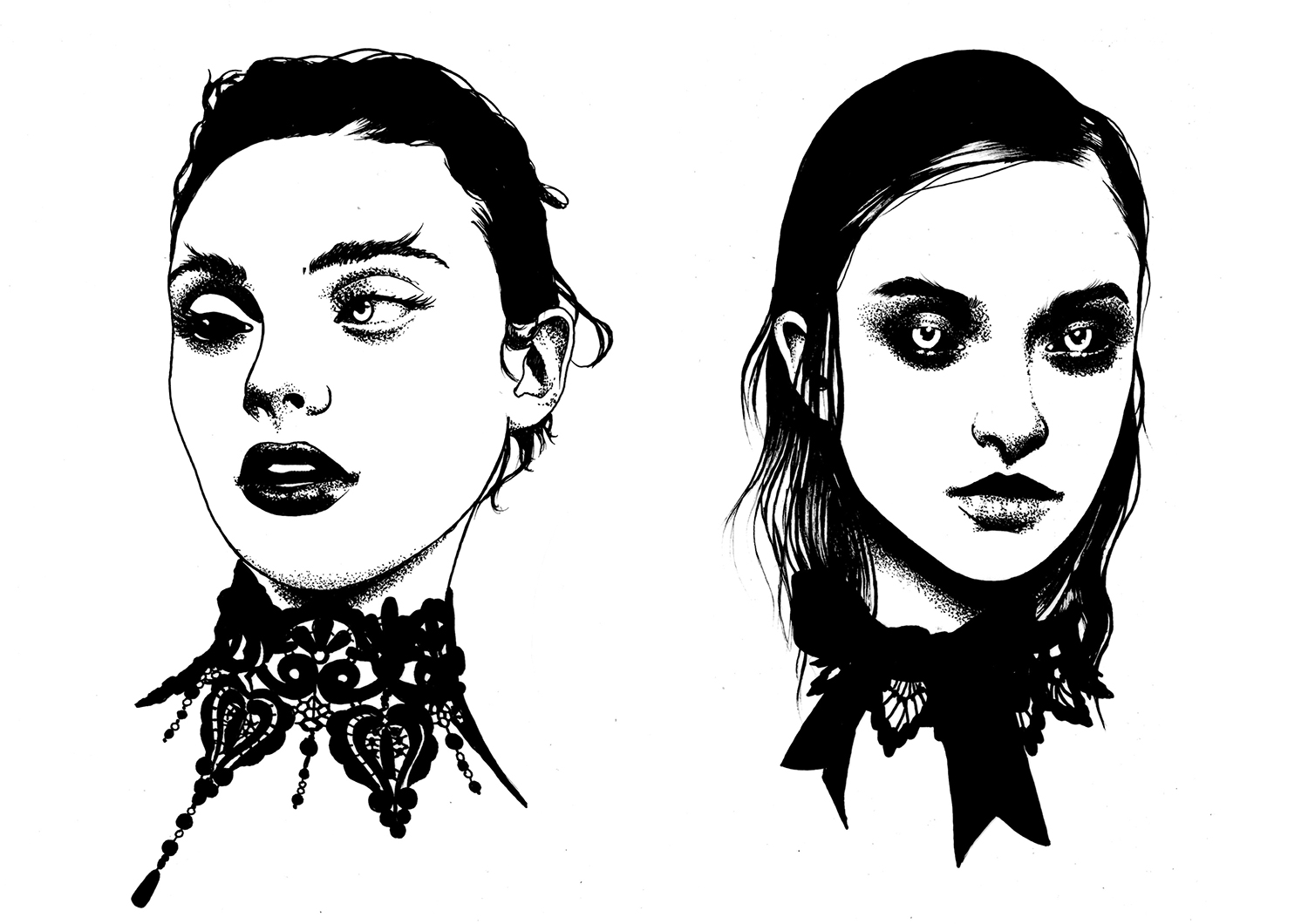 El Nigro - creepy portraits illustration
