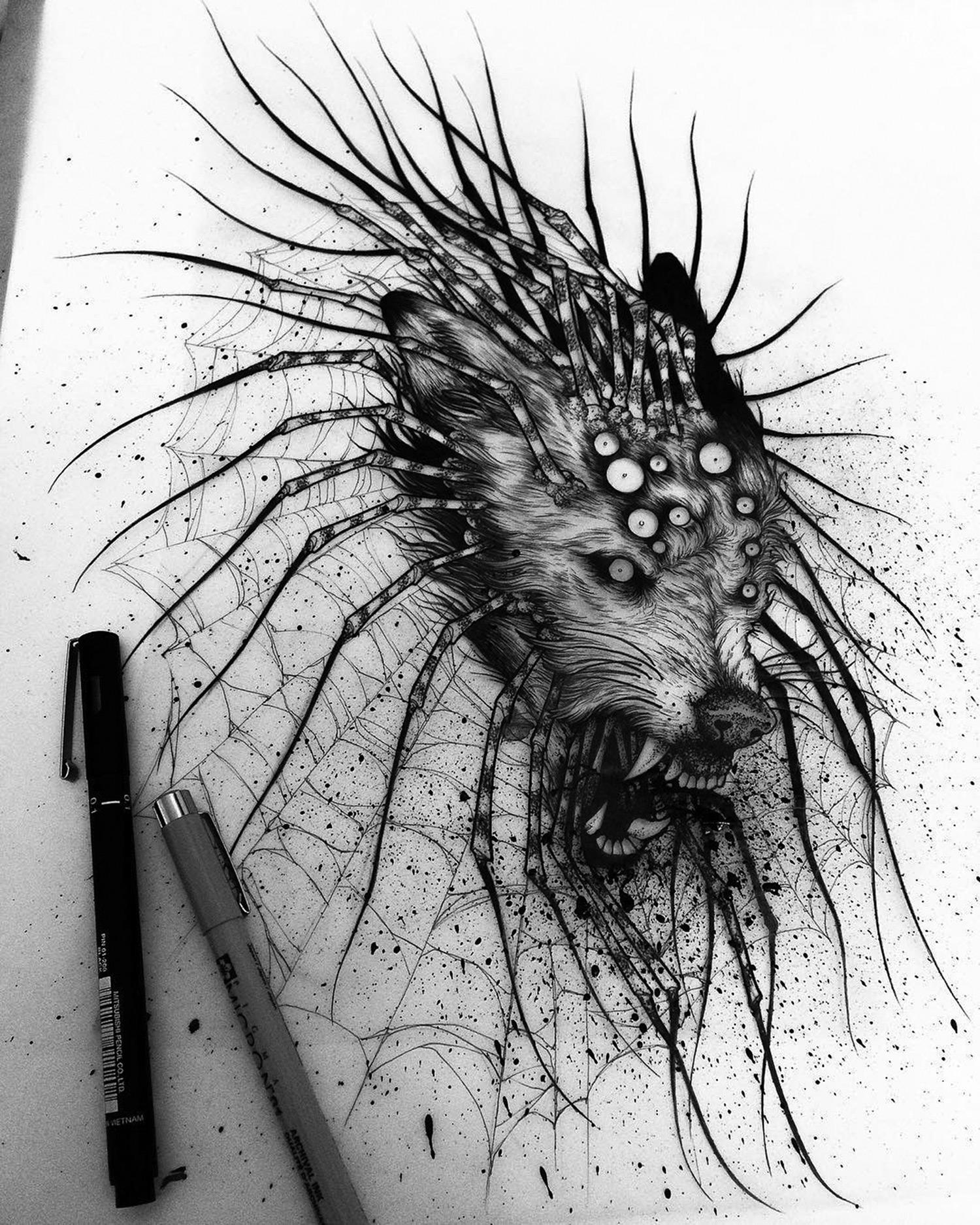 Jeanchoir - Sombre Tache - centipede wolf illustration