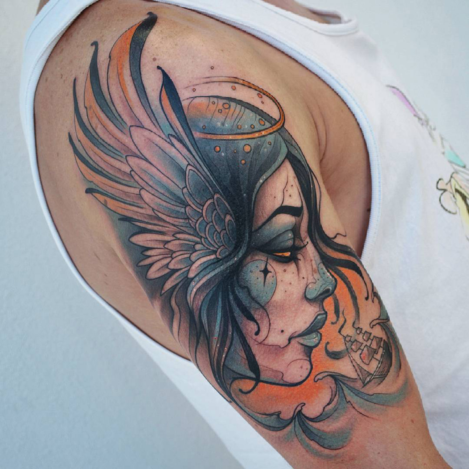 Tattooed portrait of a woman by Kati Berinkey
