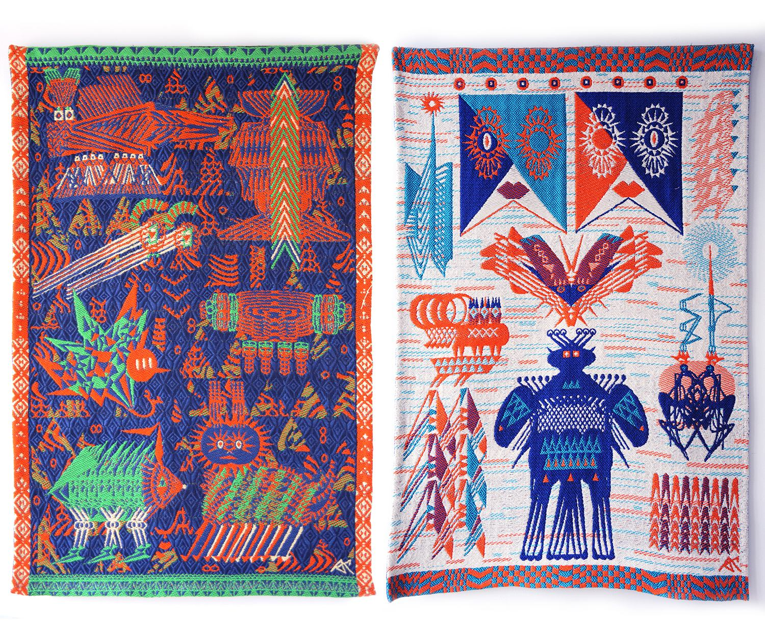 artistic carpets with illustrations, Sun and Night Textile by Aya Kawabata