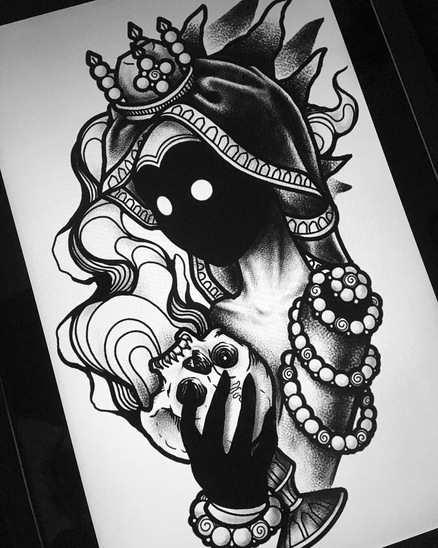 Agatha Schnips - darkhead with skull