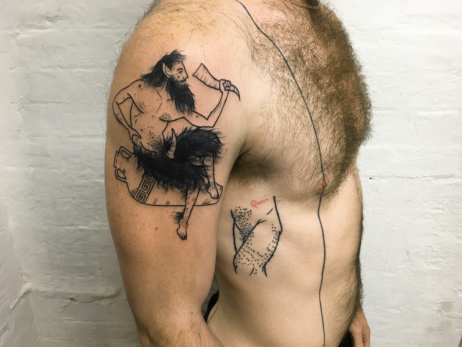 Adam Traves, Disinhibition - Greek god tattoo
