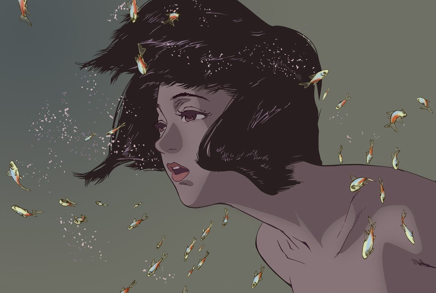 girl and goldfish, perfect blue