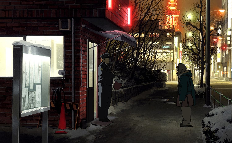 Tokyo Godfathers, street scene