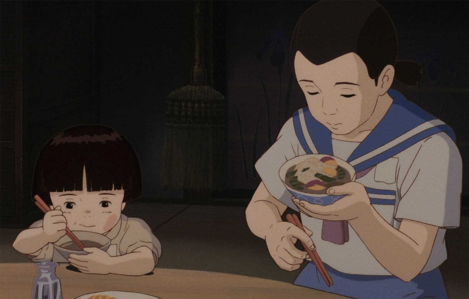 child and adult eating, Grave of the Fireflies
