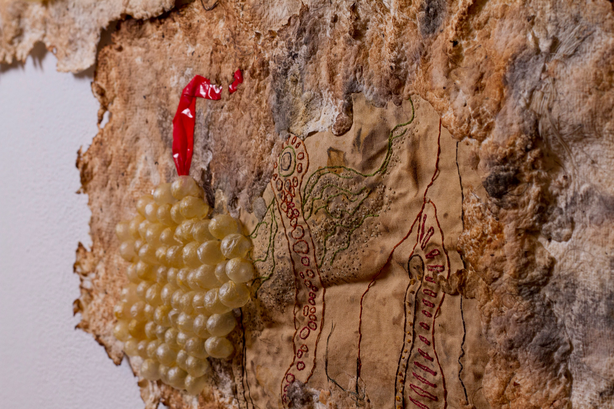 Heather Komus - Gorge and Grow - close-up intestine embroidery
