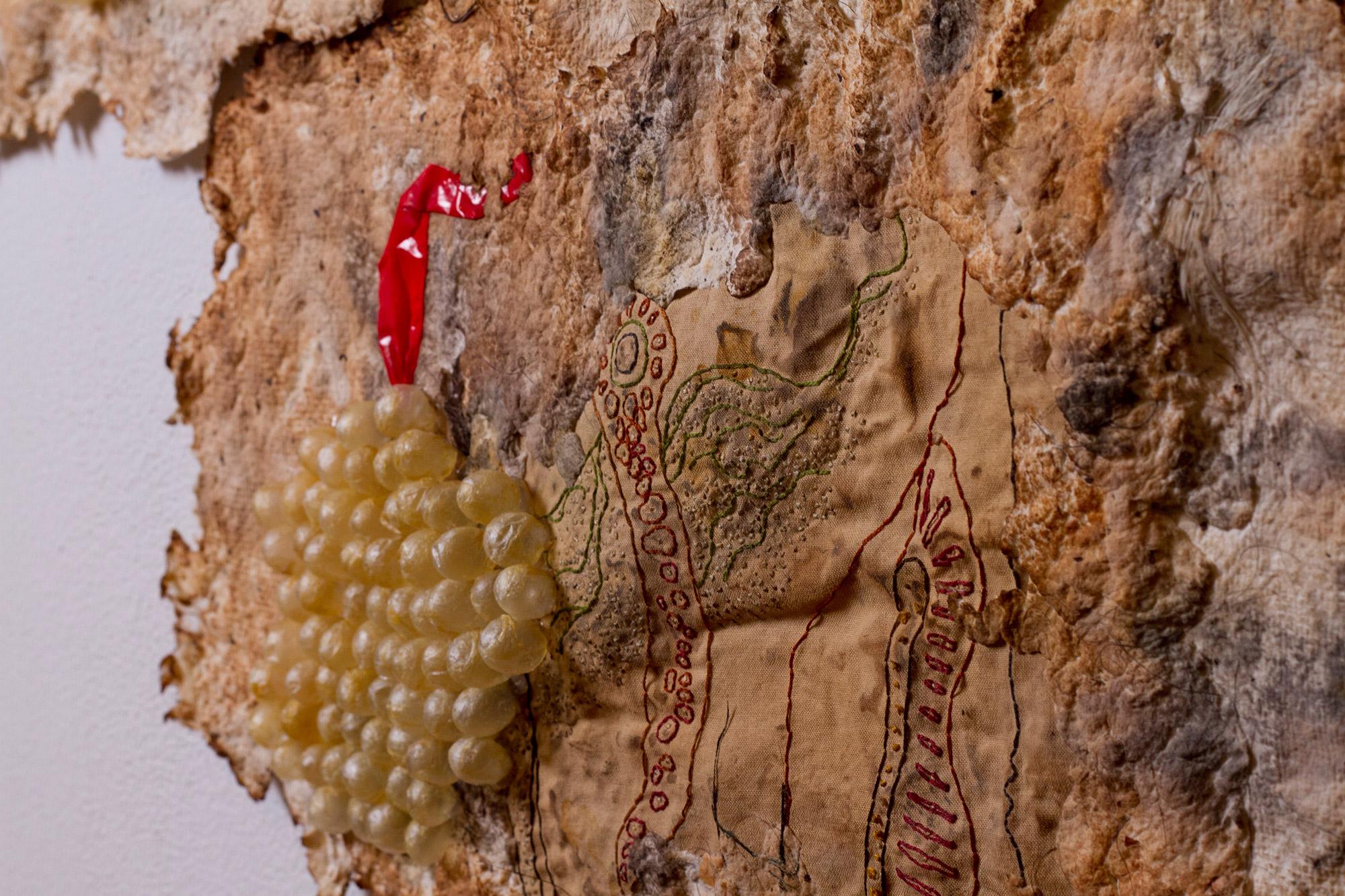 Heather Komus - Gorge and Grow - close-up intestine embroidery