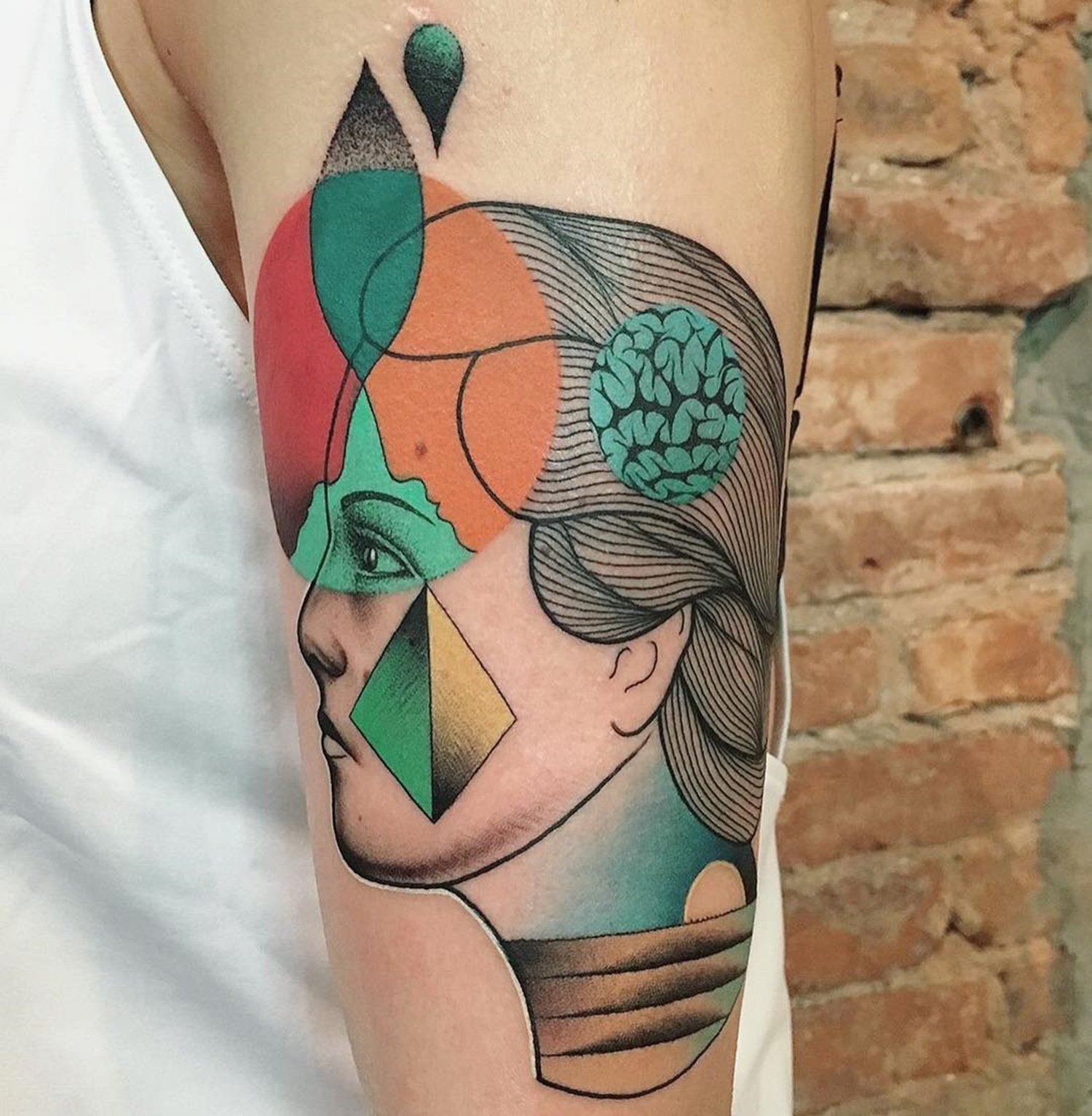 abstract portrait tattoo