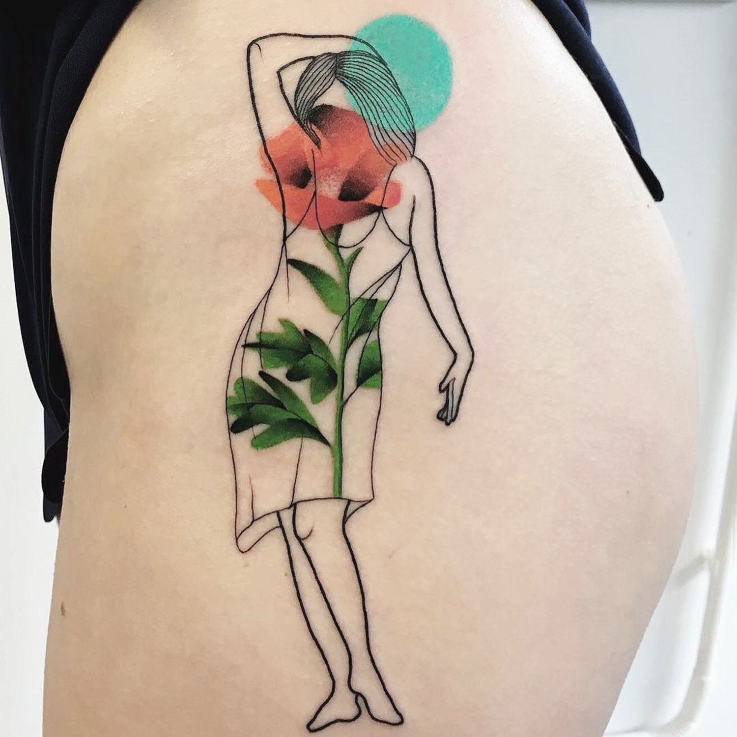 painterly tattoo, woman