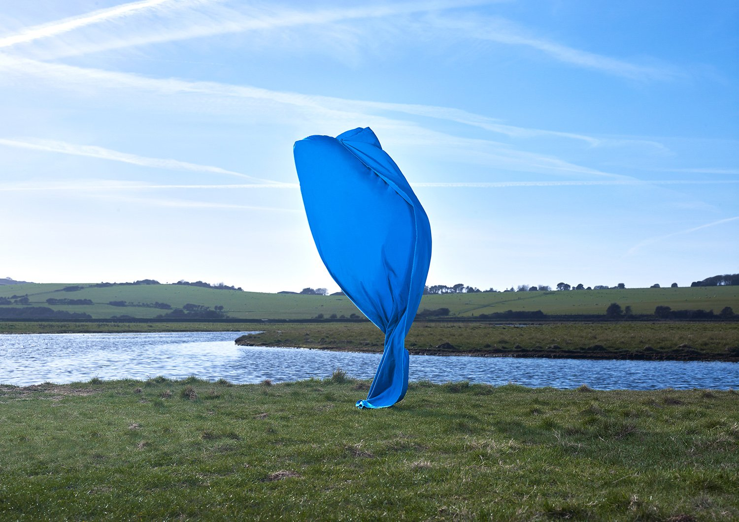Transient Sculptures, blue sheet