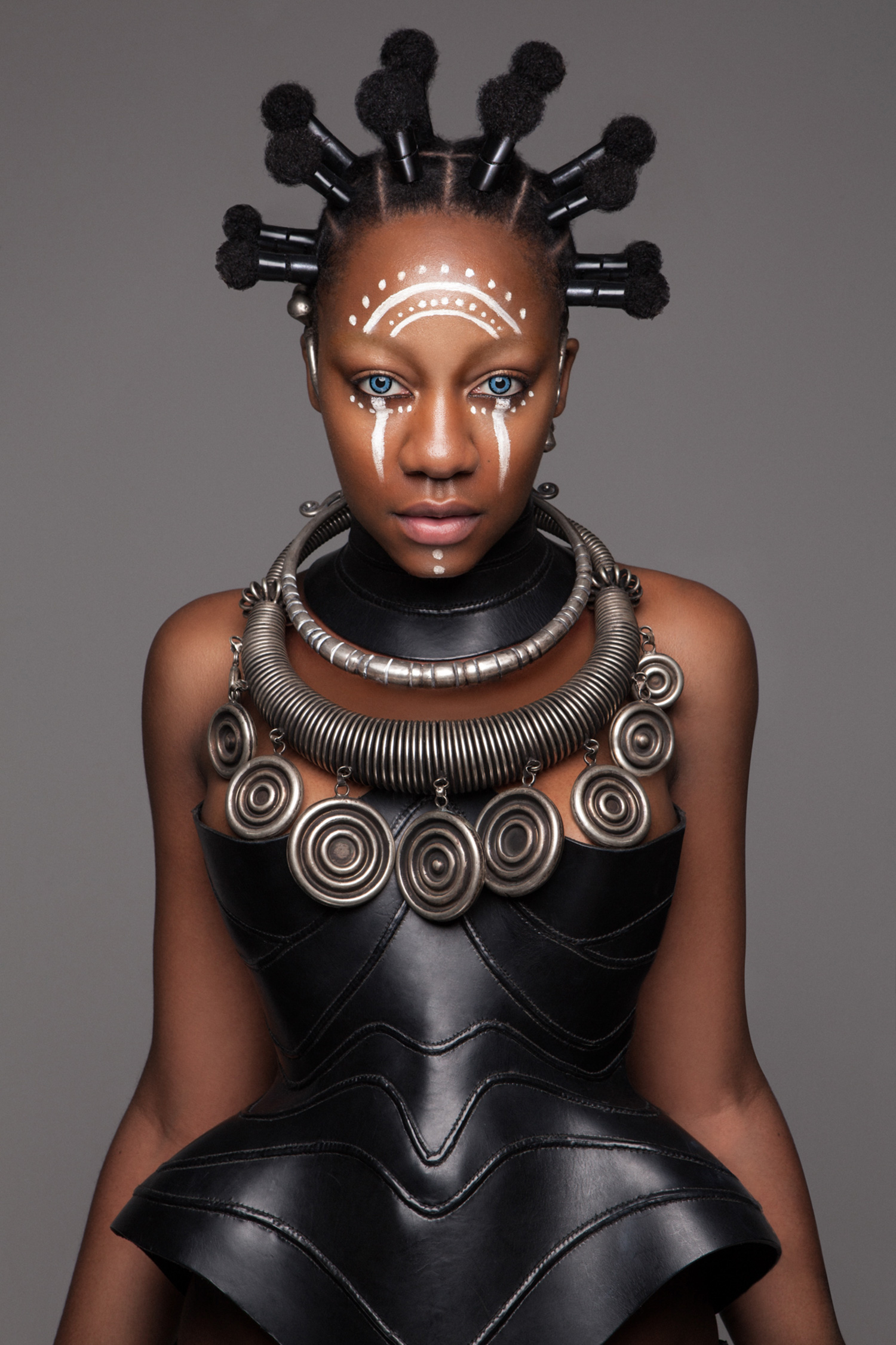 Luke Nugent - British Hair Awards 2016 - Afro Finalist Collection - face paint and abstract hair
