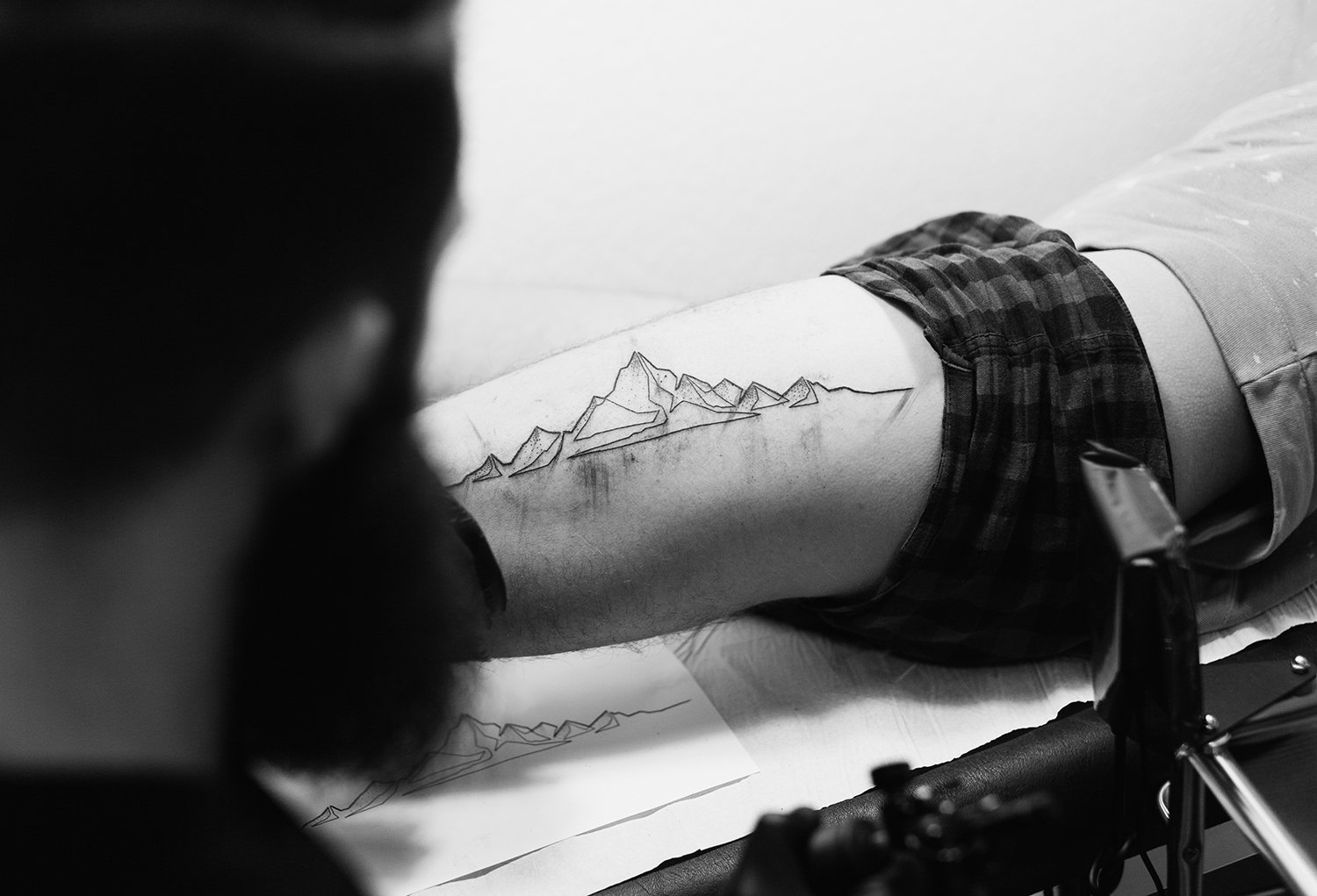 leg tattoo, linework, mountains, berlin