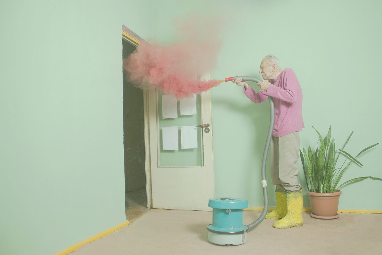 elderly with vacuum