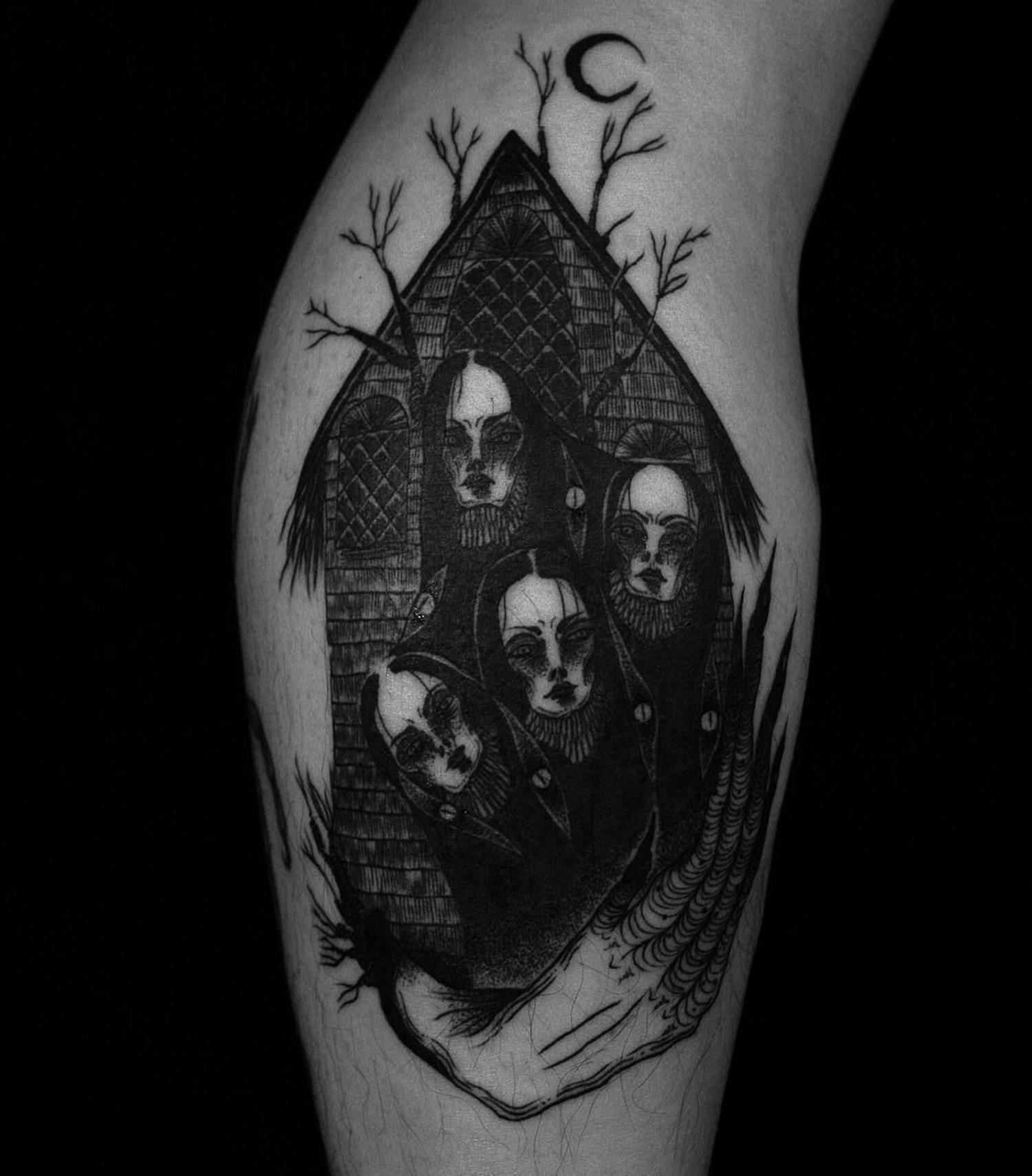 Suhwan Bak - Goth Gloomy tattoo - face house