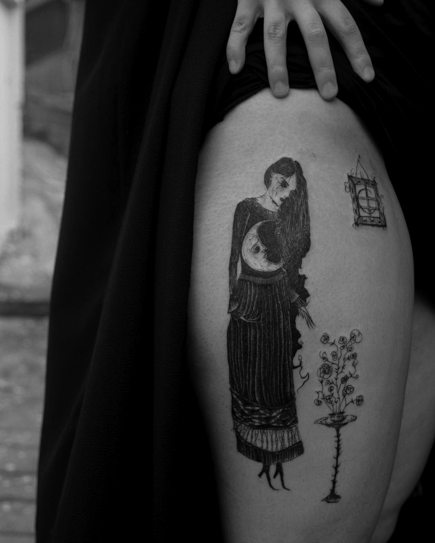 Suhwan Bak - Goth Gloomy tattoo - creepy figure