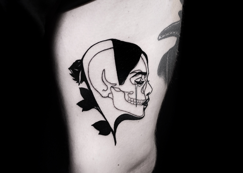 The Wolf Rosario, Rosario Sortino - skull face tattoo