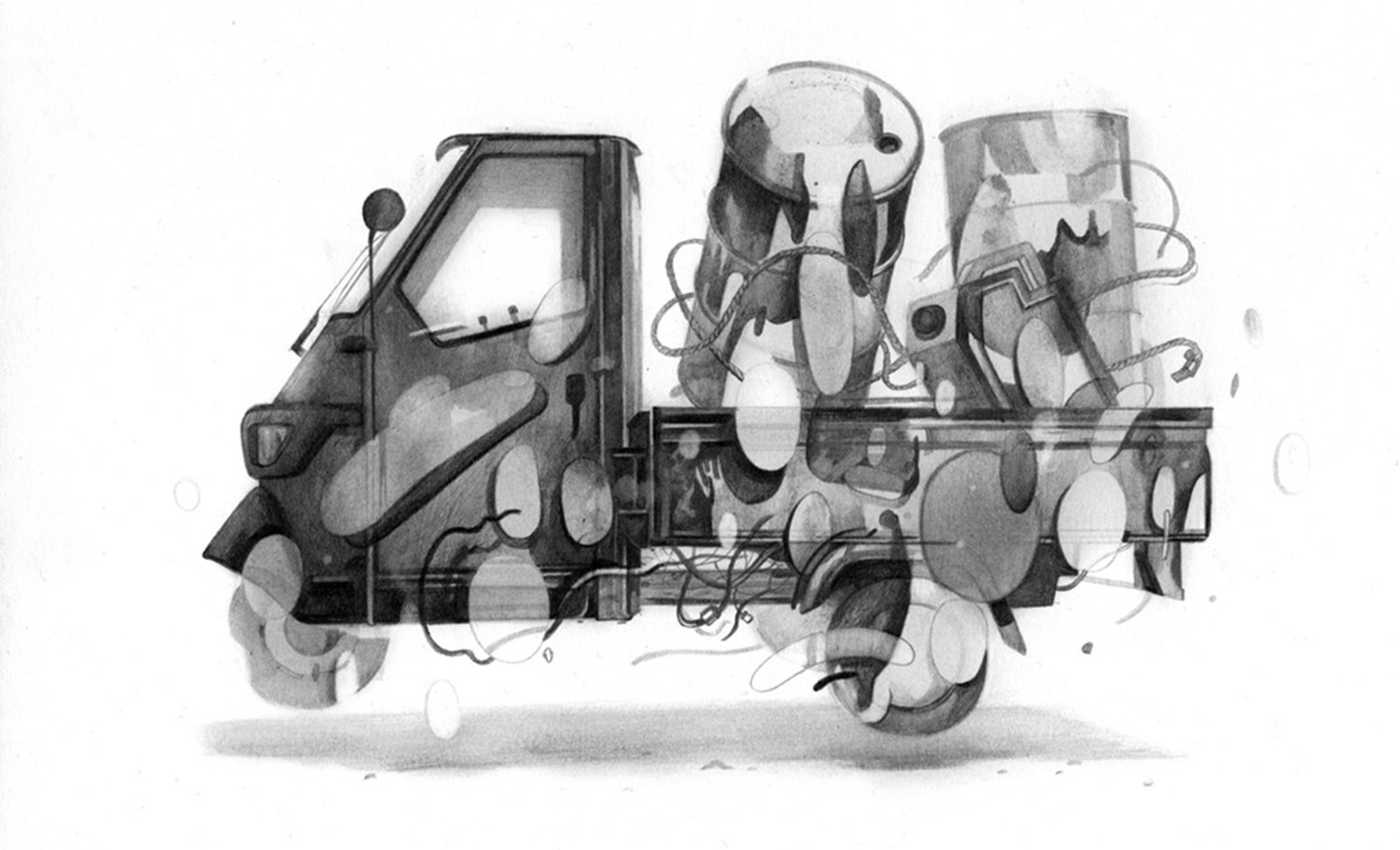 mini truck graphite drawing