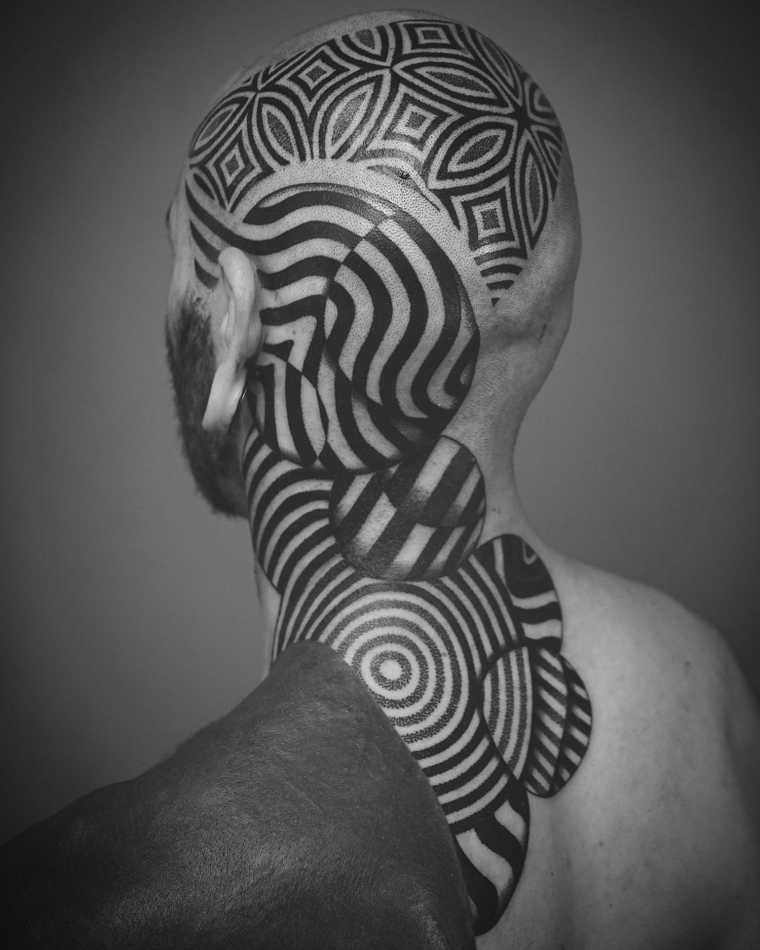 head tattoo, blackwork