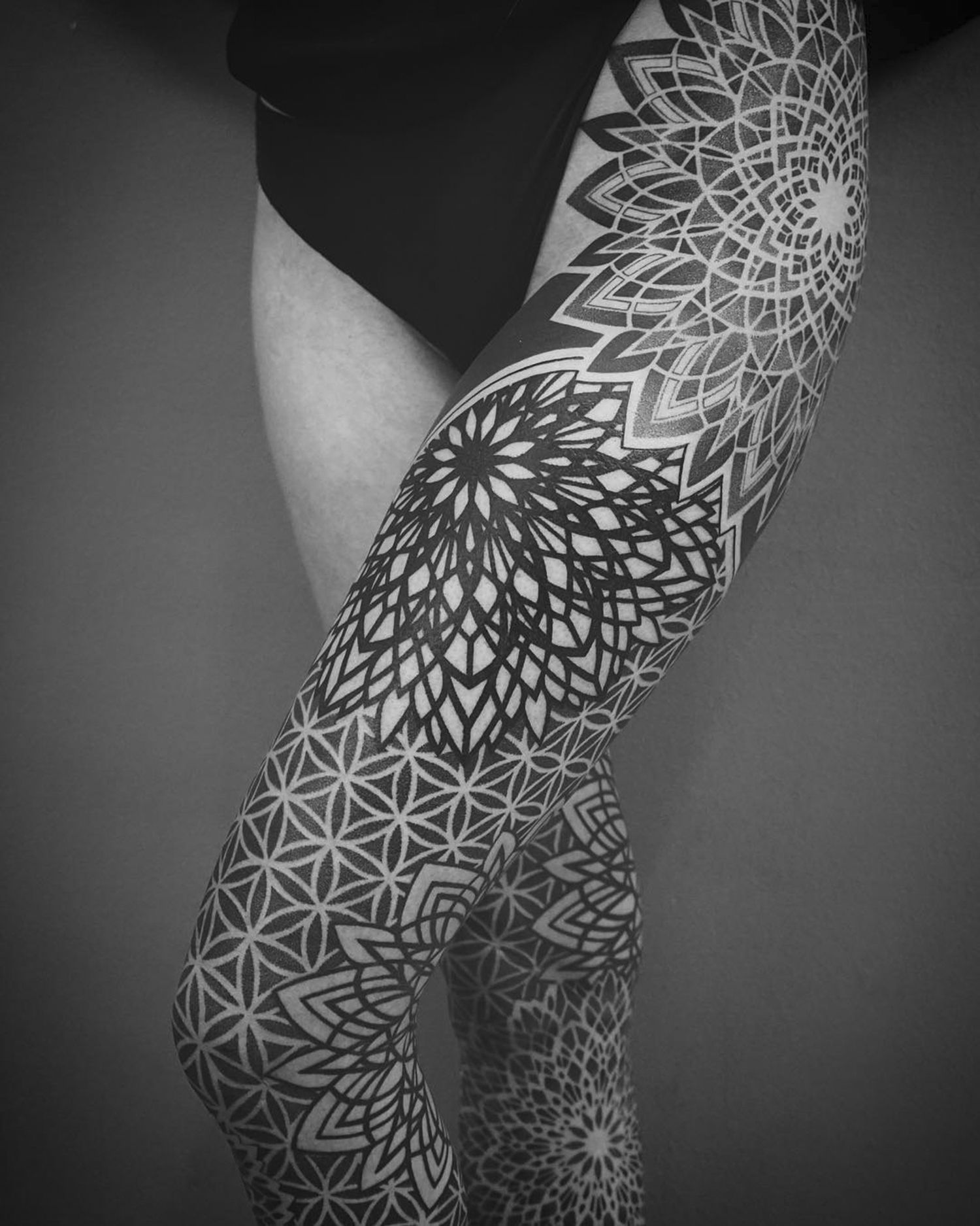 leg tattoo, floral, geometry