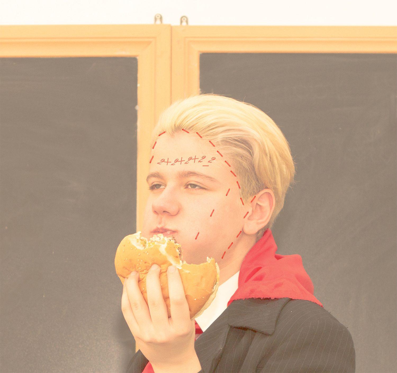 soviet kid eating burger, pastel photography