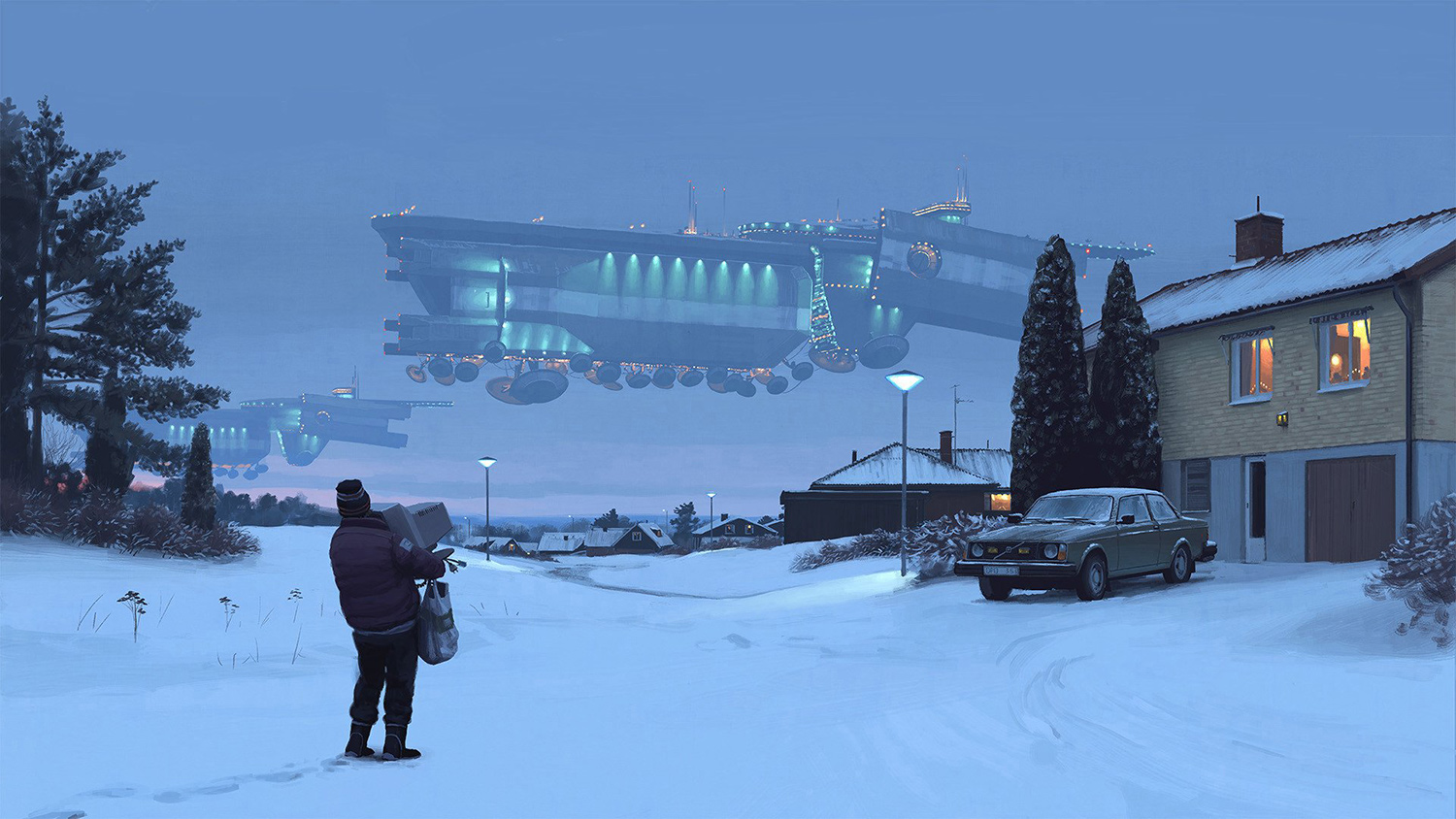 Simon Stalenhag - distant airship in snowy landscape