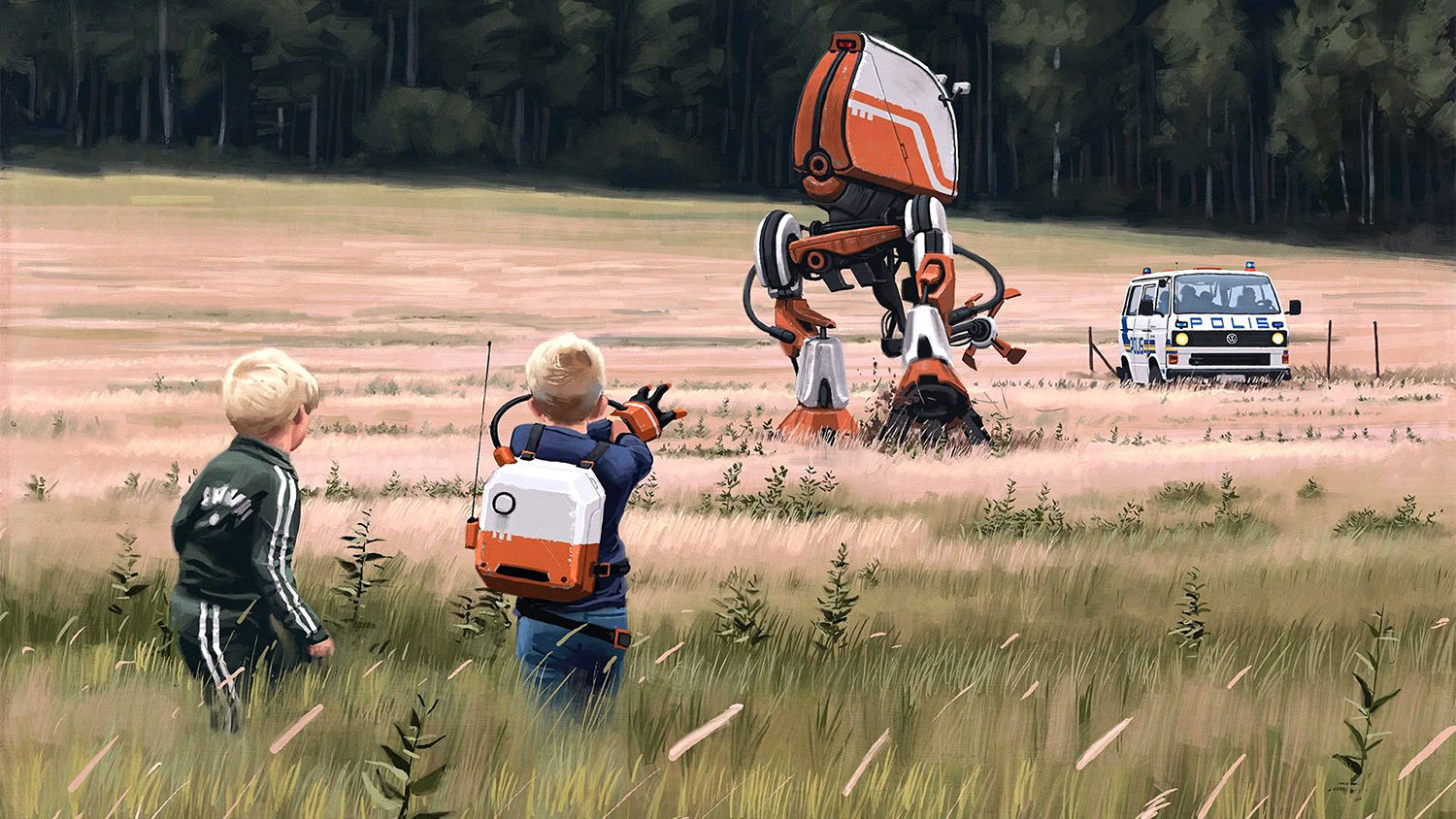 Simon Stalenhag - children and mech