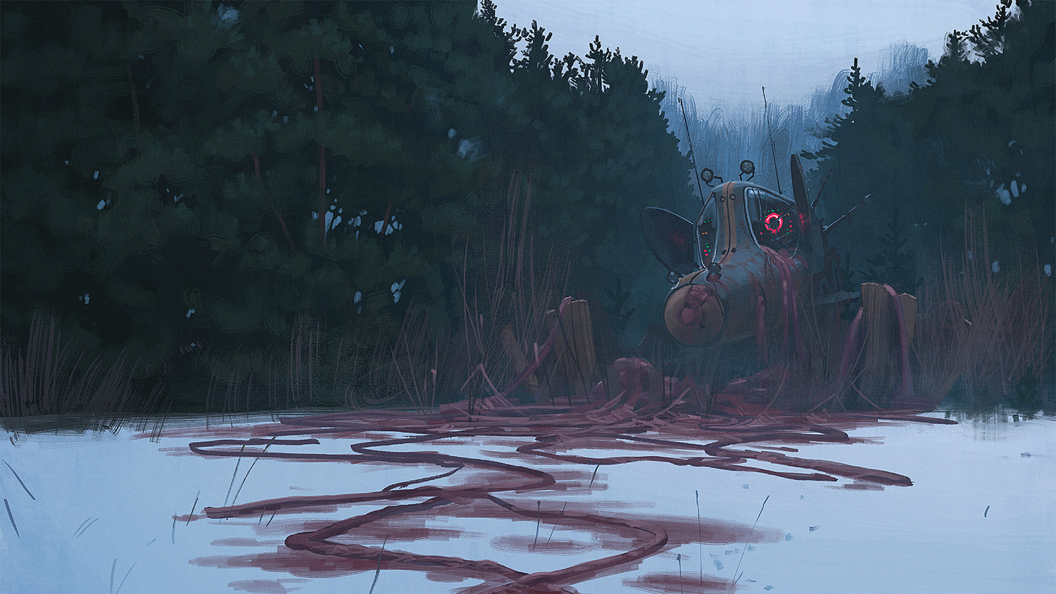 Simon Stalenhag - blood snow beast