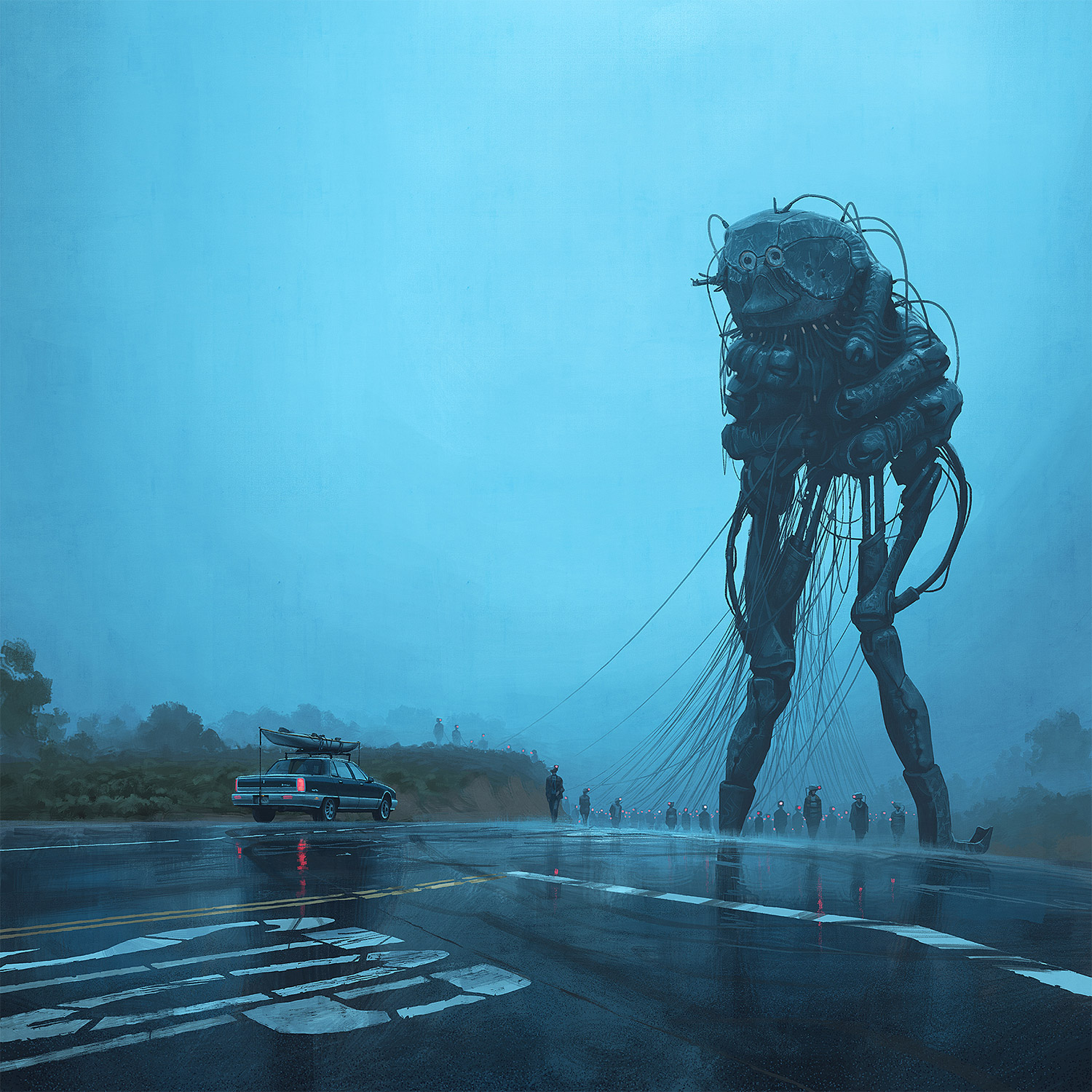 Simon Stalenhag - tall menacing mech robot