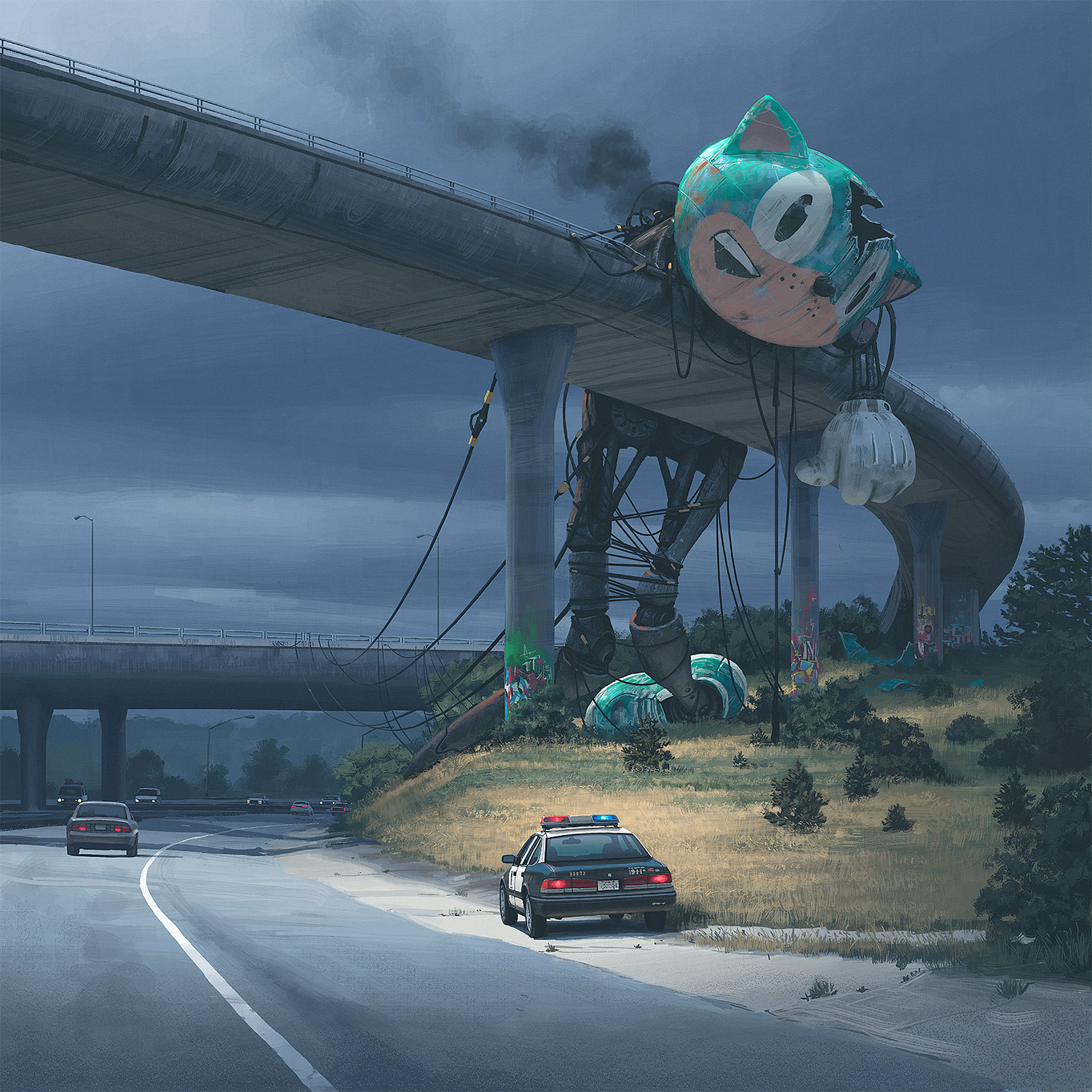 Simon Stalenhag - destroyed icon, Sonic