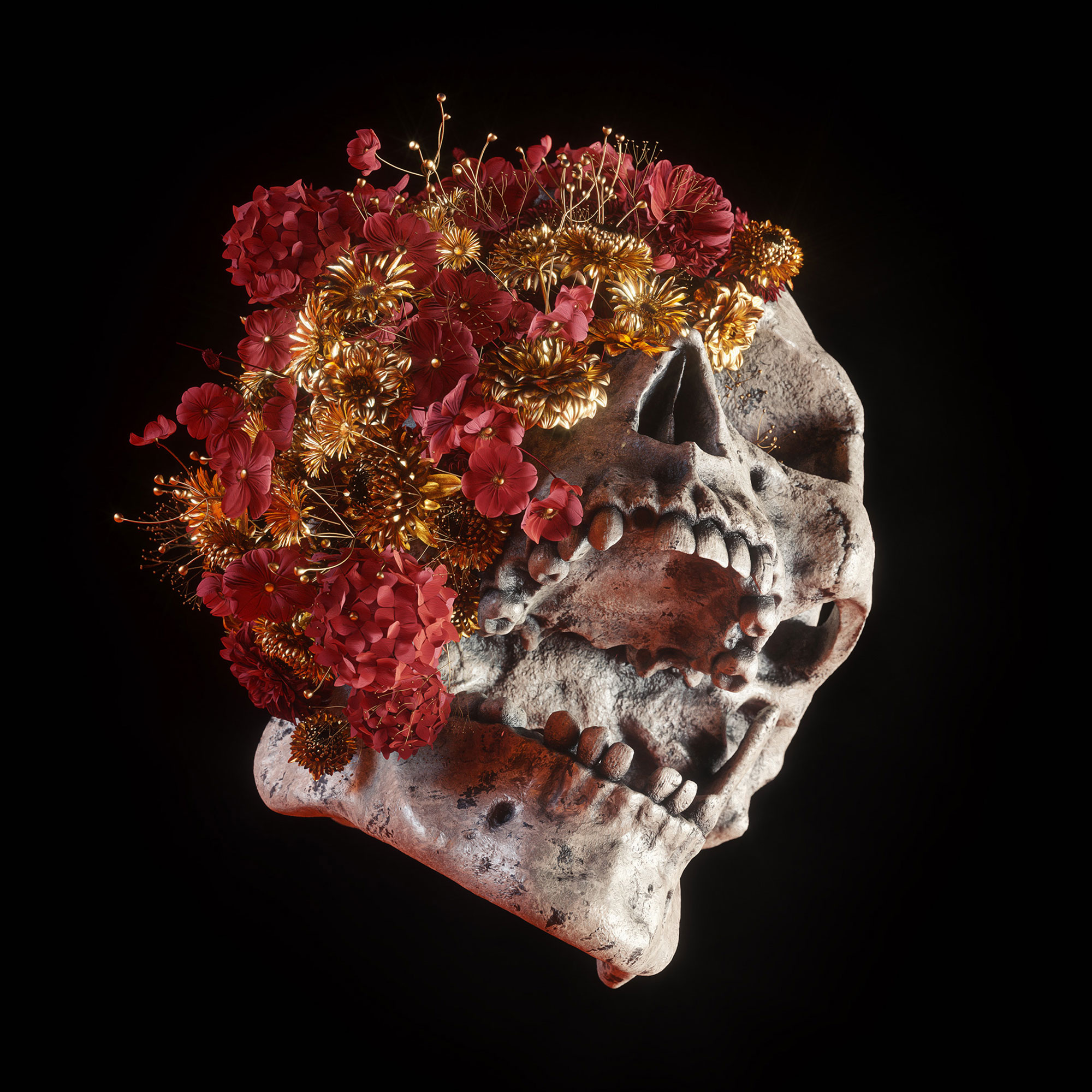 Darkly Elegant Digital Skull Art by Billelis